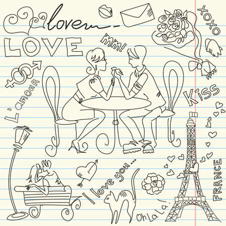 LOVE and Valentine doodles Vector
