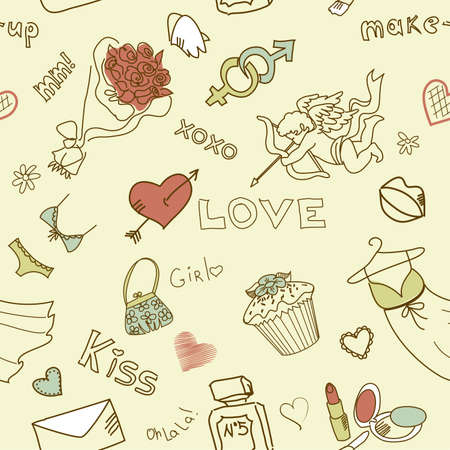 lipstick kiss: Love Seamless Doodles