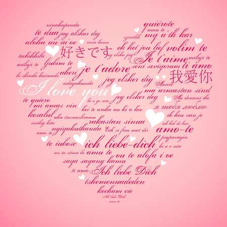 Say I love you in many languages Stock Illustratie