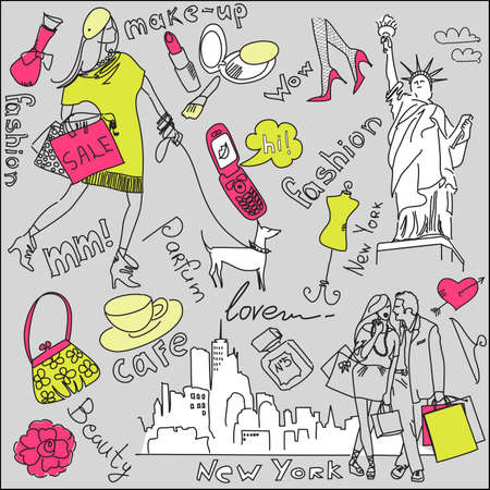 new love: shopping in new york doodles  Illustration