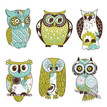 Het verzamelen van zes verschillende uilen Stock Illustratie