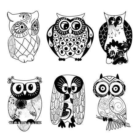 Collection of six different owls Vettoriali