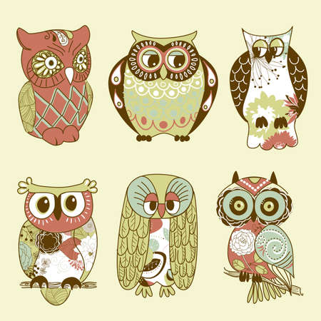 owl cartoon: Collection of six different owls