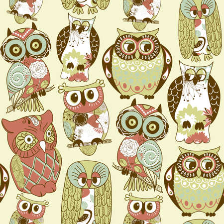 Seamless owl pattern. Stock Vector - 12494283