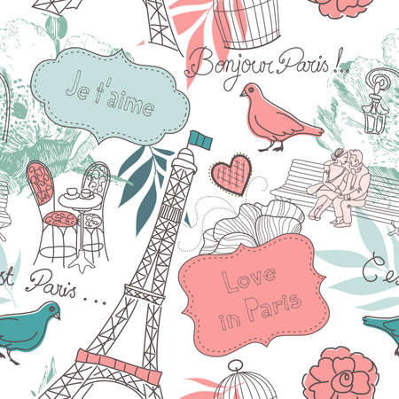 romantic kiss: Love in Paris. Seamless pattern  Illustration