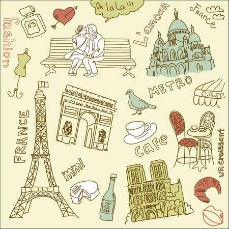 L'amour dans doodles paris Banque d'images - 12494155