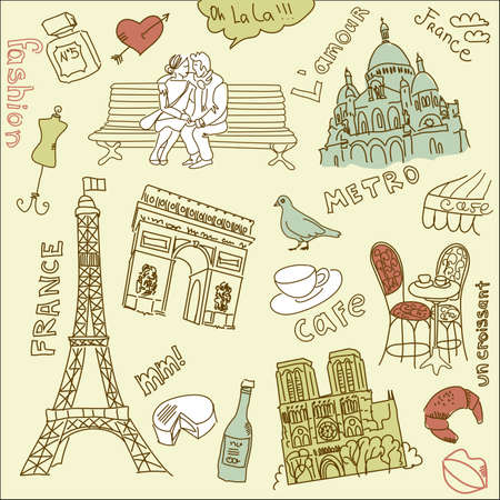 love in paris doodles Banco de Imagens - 12494155