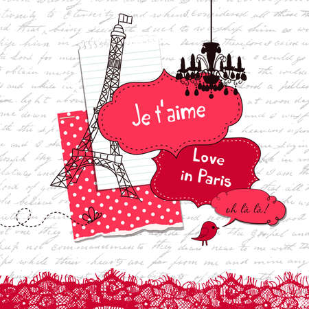 In Love with Paris, Cute scrapbook elements Vector