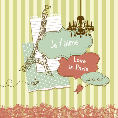 vintage photo album: Cute scrapbook elements in French style