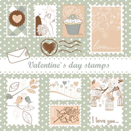 set of valentine`s day stamps  Illustration