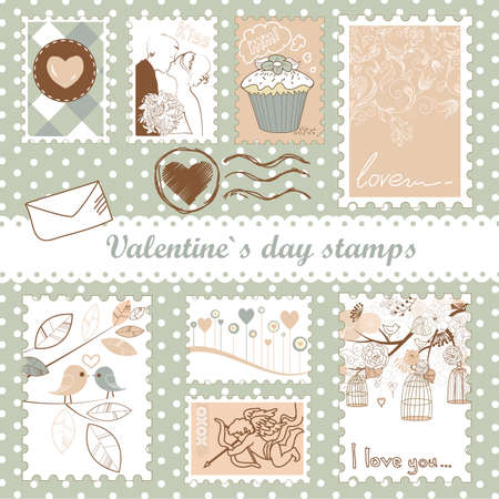 set of valentine`s day stamps  Ilustracja
