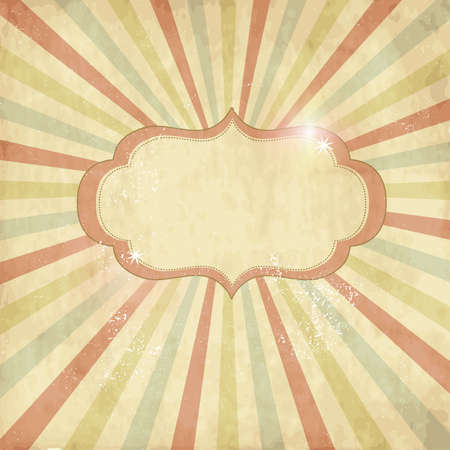 Vintage template, colored sun burst background.  Иллюстрация