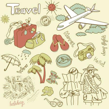 beach bag: Travel doodles. Illustration.  Illustration