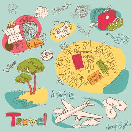 Summer Holidays Doodles! Illustration.  Vector