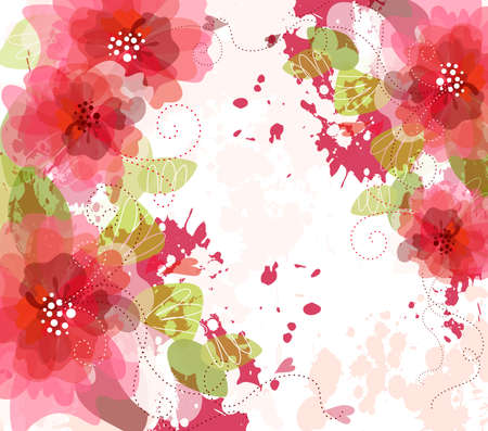 red hibiscus flower: Artistic flower background  Illustration