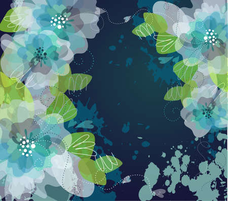 Blue Artistic flower background  Vector