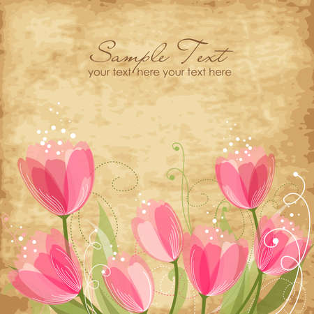 birthday invitation: Romantic Flower Background  Illustration