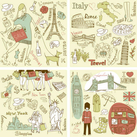 sightseeings: Italy, England, France, USA - four wonderful collections of hand drawn doodles Illustration