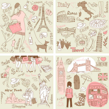 Italy, England, France, USA - four wonderful collections of hand drawn doodles Illustration