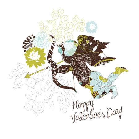 angeles bebe: Lindo Cupido. Tarjeta de Feliz D�a de San Valent�n. Vectores