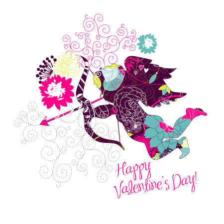 Cute Cupid. Happy Valentines Day card. Vector