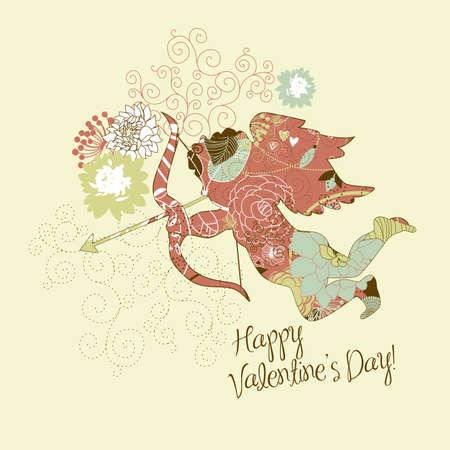 day saint valentin: Cute Cupid. Happy Valentines Day card.  Illustration