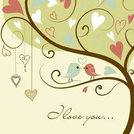 Stock Vector Illustratie: gestileerde liefde boom gemaakt met twee vogels in de liefde