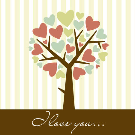 greeting card background: abstract heart tree