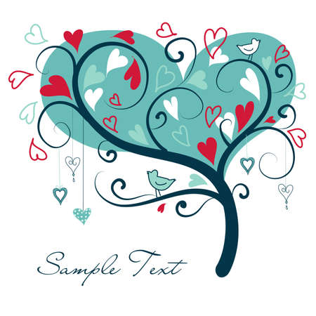 two hearts: stylized love tree made of hearts with two birds