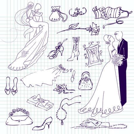 Wedding set of cute glamorous doodles  Vector