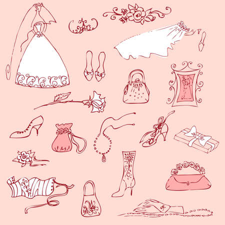 accessory: Wedding set of cute glamorous doodles