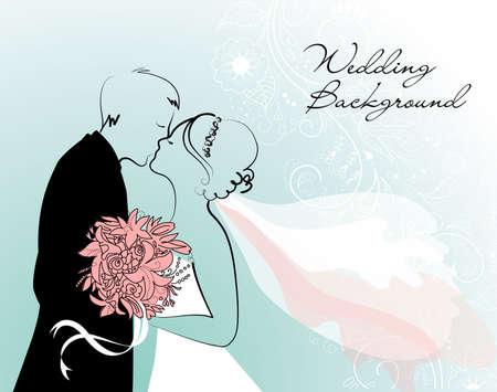 Bride and Groom. Wedding Background  Vector