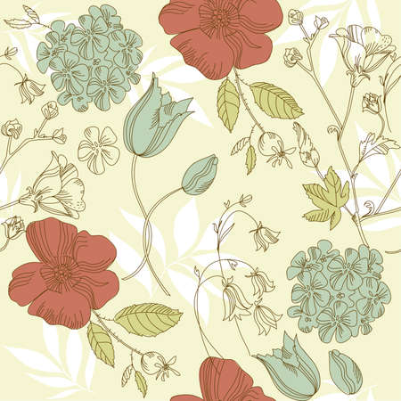 seamless vintage flower pattern, floral vector
