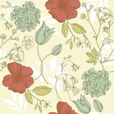 bluebells: seamless vintage flower pattern, floral vector