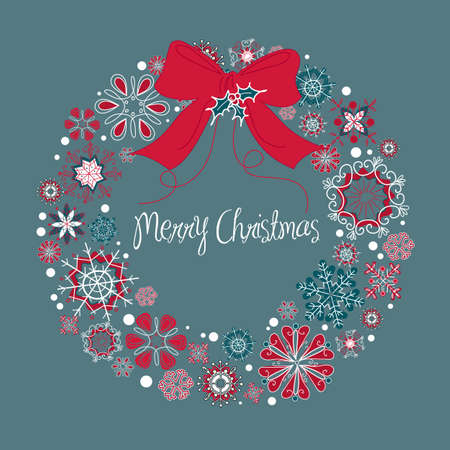 Christmas wreath made from snowflakes  Vector