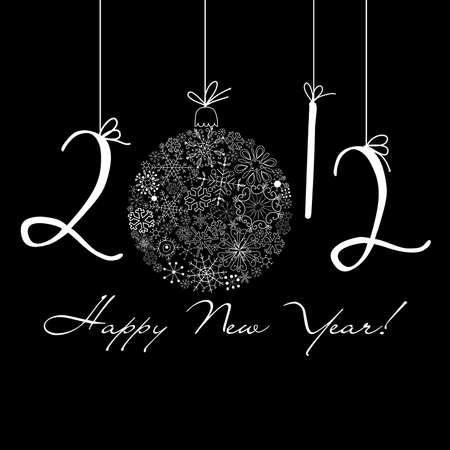 2012 Happy New Year background. Black and White background Vector