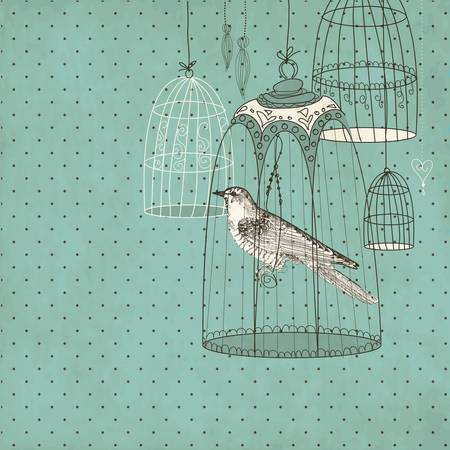 vintage card with a bird in the cage Imagens - 12494279