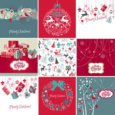 xmas background: Set of Christmas Cards