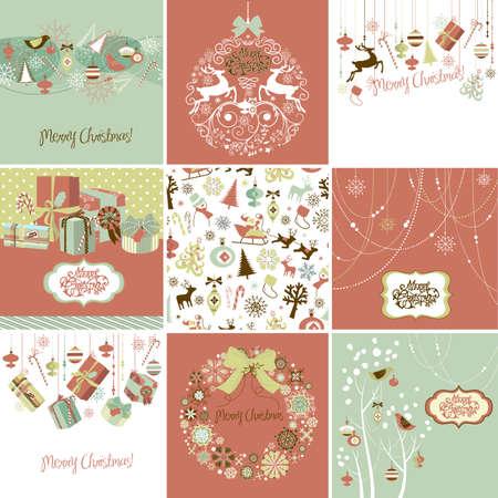 dibujo vintage: Juego de Tarjetas de Navidad
