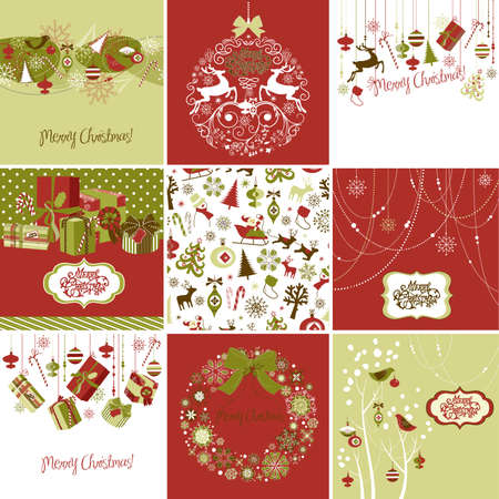 christmas backgrounds: Set of Christmas Cards