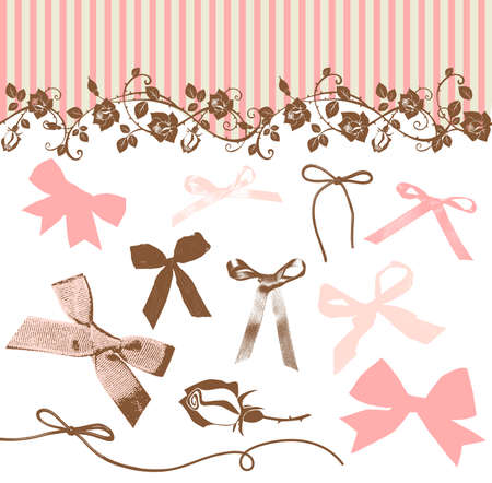 French Bows and Roses  Vector