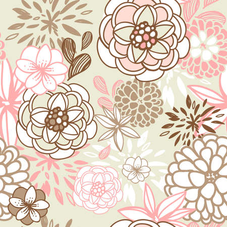 textile image: Retro floral seamless background. Romantic seamless pattern  Illustration