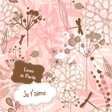 french text: Beautiful watercolor style floral background