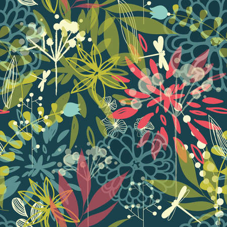 botanical drawing: Beautiful tropical flowers