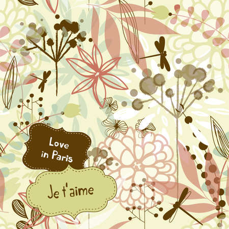 french style: Beautiful watercolor style floral background