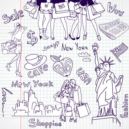 Shopping in New York doodles Vector