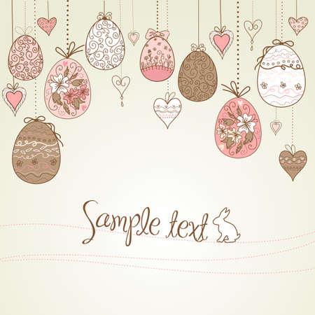 silhouette lapin: accrocher des oeufs de Pâques et les c?urs
