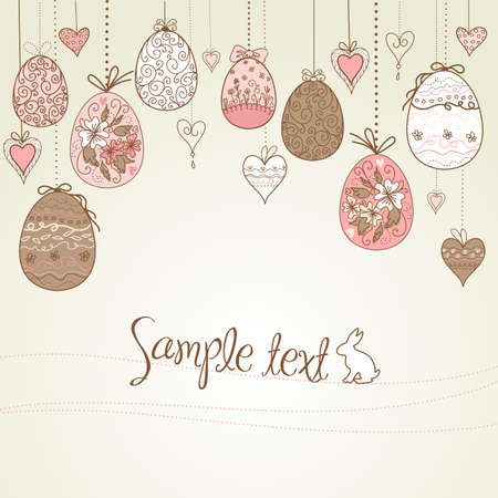 hanging easter eggs and hearts