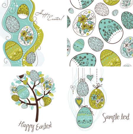 arbol de pascua: Conjunto de fondos de huevo de Pascua