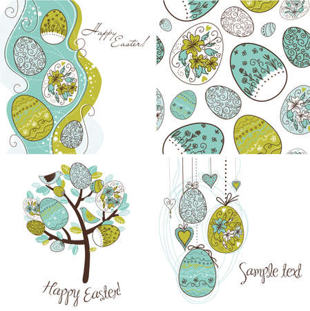 easter decorations: Set of Easter egg backgrounds